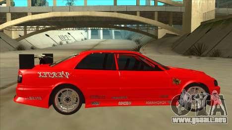 Toyota Chaser JZX100 DriftMuscle para GTA San Andreas vista posterior izquierda