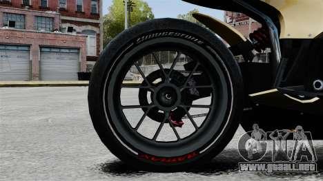 Ducati 848 para GTA 4 vista hacia atrás