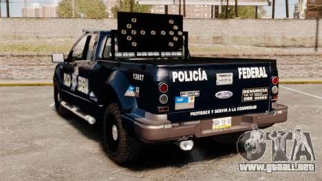 Ford F-150 De La Policia Federal [ELS & EPM] v1 para GTA 4 Vista posterior izquierda