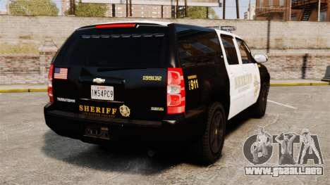 Chevrolet Suburban GTA V Blaine County Sheriff para GTA 4 Vista posterior izquierda