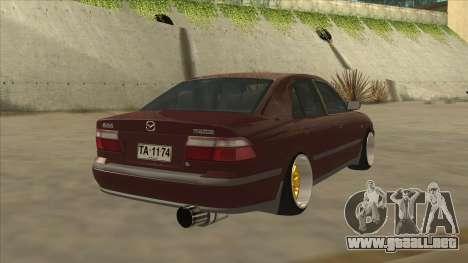 Mazda 626 Hellaflush para GTA San Andreas vista posterior izquierda