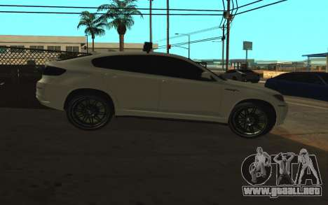 BMW x 6 M con destellar las luces PPP para GTA San Andreas vista posterior izquierda