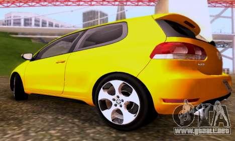Volkswagen Golf 6 GTI para GTA San Andreas vista hacia atrás