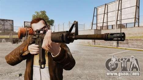 Un rifle de asalto estadounidense M16A4 para GTA 4 tercera pantalla
