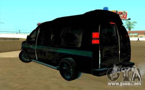 GMC Savana AWD FSB para GTA San Andreas vista hacia atrás