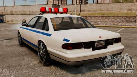 Policía en un unidades de 20 pulgadas para GTA 4 Vista posterior izquierda