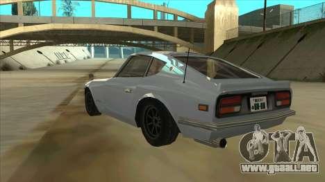 Nissan Fairlady S30Z para GTA San Andreas vista hacia atrás
