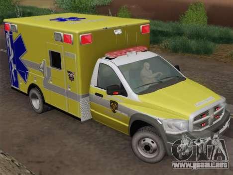 Dodge Ram Ambulance BCFD Paramedic 100 para GTA San Andreas vista hacia atrás