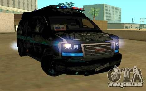 GMC Savana AWD FSB para la visión correcta GTA San Andreas