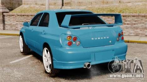 Subaru Impreza para GTA 4 Vista posterior izquierda