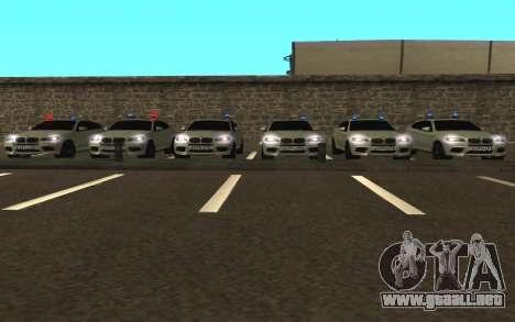 BMW x 6 M con destellar las luces PPP para GTA San Andreas vista hacia atrás