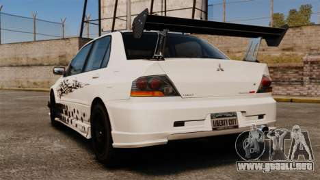Mitsubishi Lancer Evolution VIII MR CobrazHD para GTA 4 Vista posterior izquierda