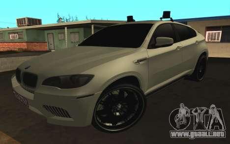BMW x 6 M con destellar las luces PPP para GTA San Andreas left