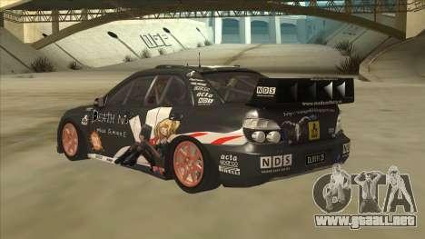 Subaru Impreza WRC Itasha para GTA San Andreas vista hacia atrás