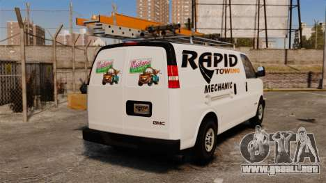GMC Savana 2500 Rapid Towing Mechanic para GTA 4 Vista posterior izquierda