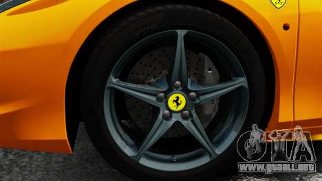 Ferrari 458 Spider 2013 Italian para GTA 4 vista hacia atrás
