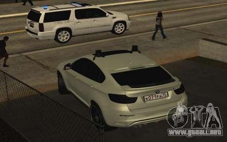 BMW x 6 M con destellar las luces PPP para la visión correcta GTA San Andreas