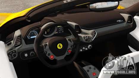 Ferrari 458 Spider 2013 Italian para GTA 4 vista interior