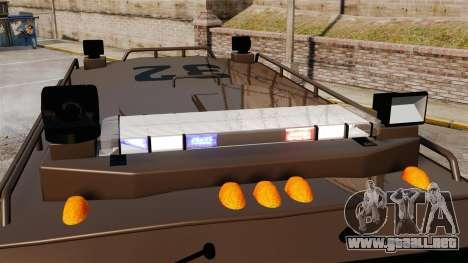 Lenco Bearcat blindados LSPD GTA V para GTA 4 vista hacia atrás