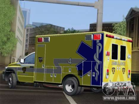 Dodge Ram Ambulance BCFD Paramedic 100 para la vista superior GTA San Andreas