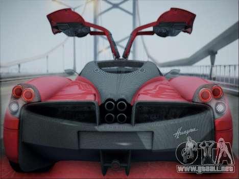 Pagani Huayra para GTA San Andreas vista hacia atrás