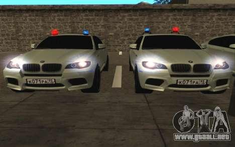 BMW x 6 M con destellar las luces PPP para visión interna GTA San Andreas