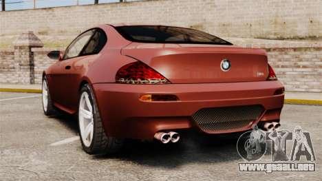 BMW M6 para GTA 4 Vista posterior izquierda