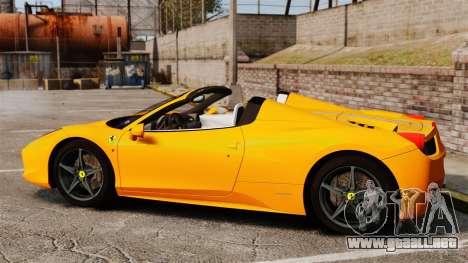 Ferrari 458 Spider 2013 Italian para GTA 4 left