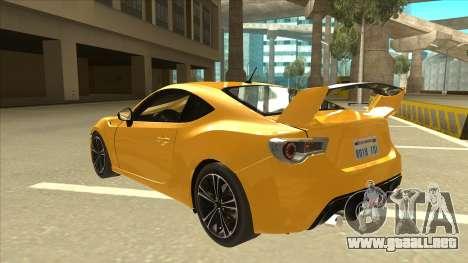 TOYOTA GT86 2JZ-GTE Black Revel para GTA San Andreas vista hacia atrás