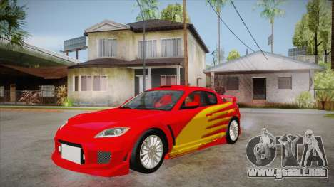 Mazda RX8 Tunnable para visión interna GTA San Andreas