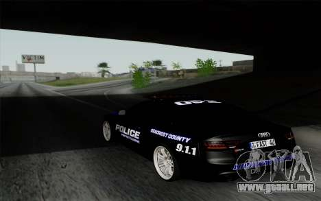 Audi RS5 2011 Police para GTA San Andreas left