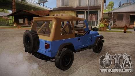 Jeep Wrangler V10 TT Black Revel para la visión correcta GTA San Andreas