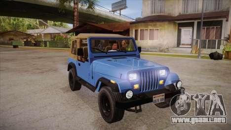 Jeep Wrangler V10 TT Black Revel para GTA San Andreas vista hacia atrás