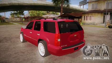 Chevrolet Tahoe LTZ 2013 Custom para GTA San Andreas vista posterior izquierda