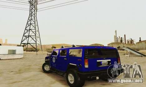 THW Hummer H2 para GTA San Andreas vista posterior izquierda