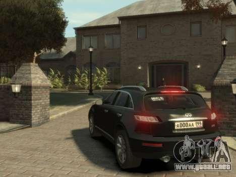 Infiniti FX45 2008 para GTA 4 visión correcta