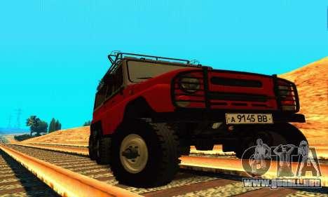 UAZ 31514 6 x 6 para GTA San Andreas vista hacia atrás
