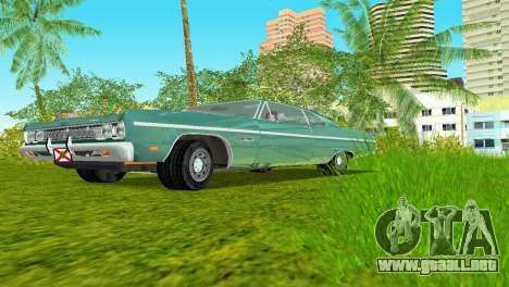 Plymouth Fury III 1969 Coupe para GTA Vice City vista lateral izquierdo