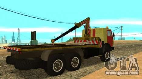 Grúa 43114 KAMAZ para GTA San Andreas vista posterior izquierda