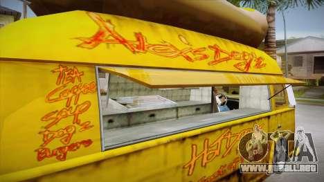 Hot Dog Van Custom para vista lateral GTA San Andreas