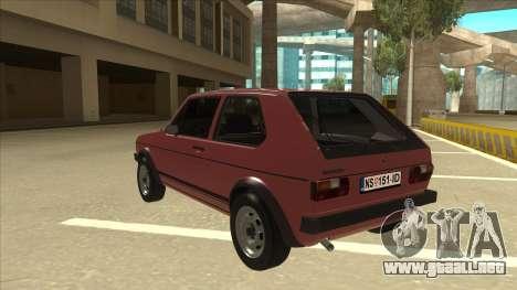 Volkswagen Golf 1 TAS para GTA San Andreas vista hacia atrás