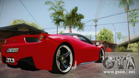 Ferrari 458 Italia Novitec Rosso 2012 v2.0 para la visión correcta GTA San Andreas