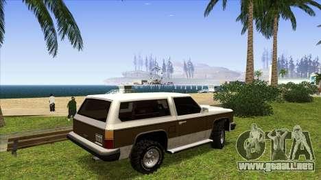 Rancher Bronco para GTA San Andreas vista posterior izquierda