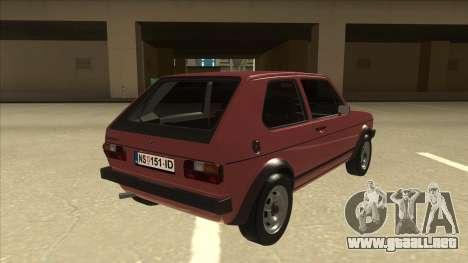 Volkswagen Golf 1 TAS para la visión correcta GTA San Andreas
