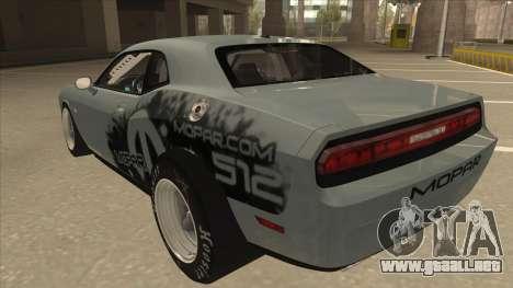 Dodge Challenger Drag Pak para GTA San Andreas vista hacia atrás
