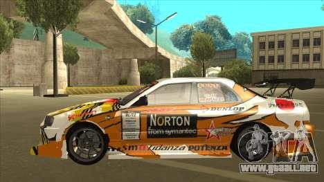 Nissan Skyline ER34 Uras GT Blitz 2010 para GTA San Andreas vista hacia atrás