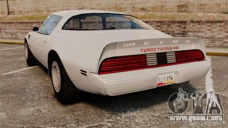 Pontiac Turbo TransAm 1980 para GTA 4 Vista posterior izquierda