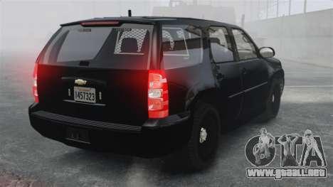 Chevrolet Tahoe 2010 PPV SFPD v1.4 [ELS] para GTA 4 Vista posterior izquierda
