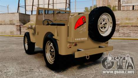 Willys MB para GTA 4 Vista posterior izquierda