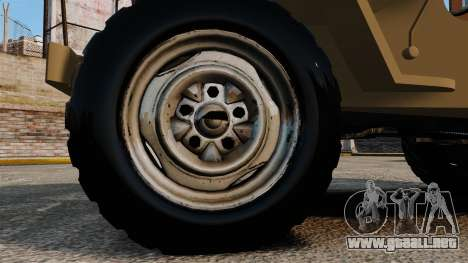 Willys MB para GTA 4 vista hacia atrás